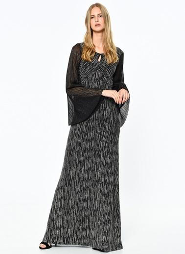 Kolları Şifon Detaylı Abiye Elbise-Koton